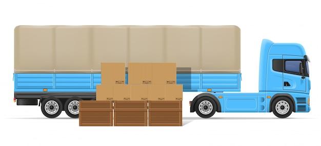 Rimorchio dei semi del camion per trasporto dell'illustrazione di vettore di concetto delle merci