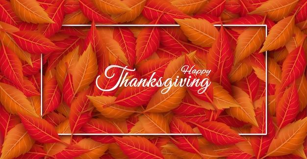 Ringraziamento con colorate foglie autunnali stagionali