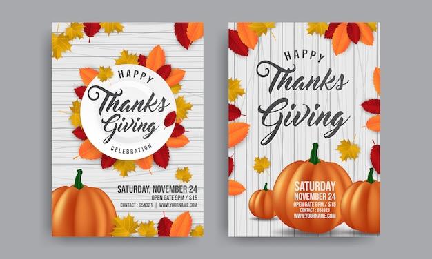Ringraziamento con zucca arancione per poster promozionale. volantino modello per la promozione