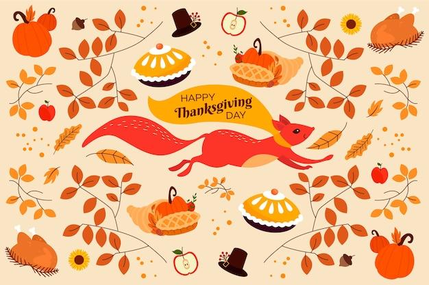 Ringraziamento design piatto di sfondo