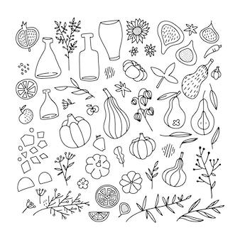 Ringraziamento e simboli tradizionali autunnali nella raccolta in stile doodle. insieme di elementi di design disegnati a mano