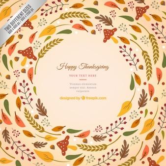 Ringraziamento sfondo wih foglie