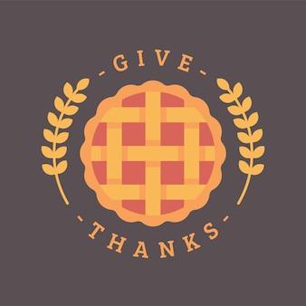 Ringraziare. illustrazione piatta torta di ringraziamento