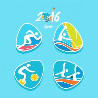 Rio olimpiadi sport 2016 di atletica leggera in azione logo set