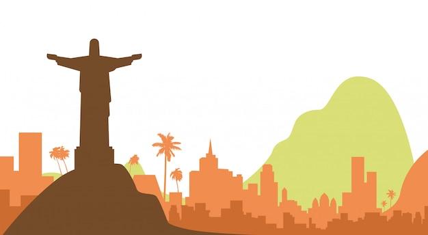 Rio silhouette visualizza la statua di gesù