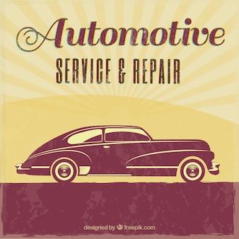 Riparazione auto vintage poster retrò