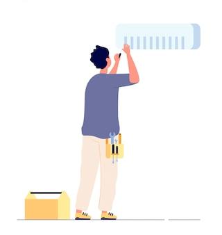 Riparazione del condizionatore d'aria. tecnico dell'uomo che fa i condizionatori d'aria di manutenzione. riparazione domestica di ca, concetto di servizio di condizionamento della casa