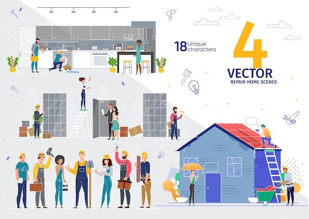 Riparazione della casa, scene di lavoro dell'azienda di ristrutturazione