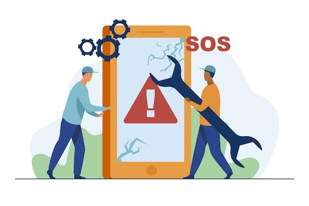 Riparazione dello smartphone rotto. tecnico con la chiave che fissa il telefono con l'illustrazione piana di vettore dello schermo incrinato. gadget danneggiato, centro servizi