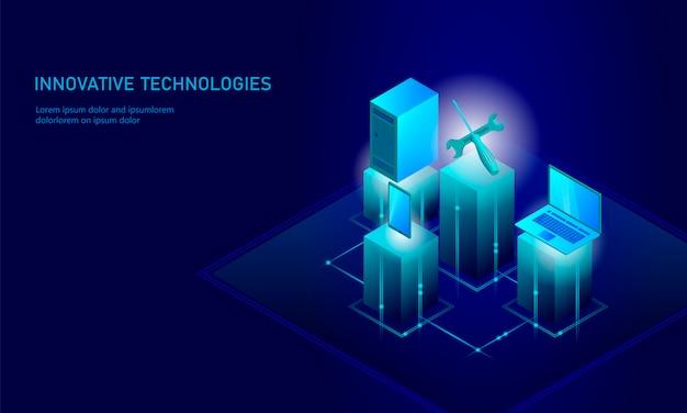 Riparazione di servizio informatico isometrica, cacciavite piano blu tecnico del supporto 3d