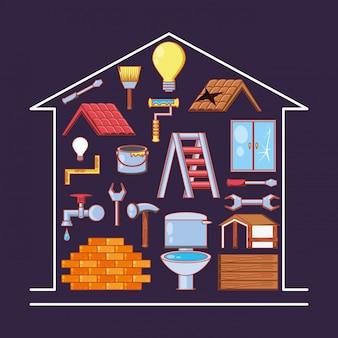 Riparazione domestica con le icone dell'insieme di strumenti