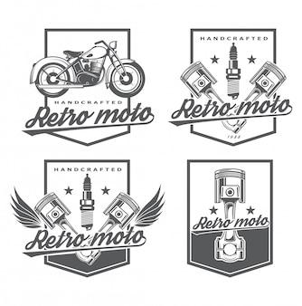 Riparazione logo e restauro di attrezzature d'epoca. classici del garage. logo elegante per riparazioni auto. icona per il negozio online di ricambi. set emblema con pistone e moto.