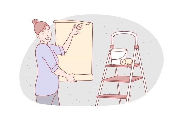 Riparazione piatta, servizio, illustrazione wallpapering
