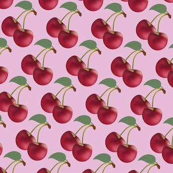Ripetitivo dalle ciliegie rosse di sfondo rosa