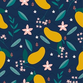Ripetizione di fiori di mango e varietà