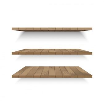 Ripiani in legno a parete con ombreggiatura sfumata. vettore