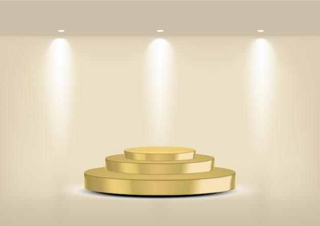 Ripiano in oro vuoto realistico per interni per mostrare il prodotto