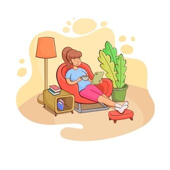 Riposo a casa illustrazione