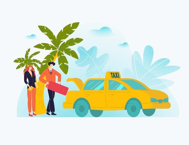 Riposo delle coppie di vcation, viaggio caldo del tour, stagione delle palme, turismo dell'isola tropicale, illustrazione. caricatura persone felici in partenza congedo, isola tropicl, concetto di viaggio.