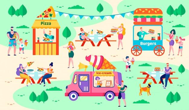 Riposo ed alimento nell'illustrazione di vettore del parco della città.