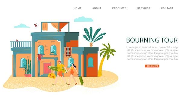 Riposo estivo, iscrizione del tour di bourning sul sito web, vacanze calde, turismo tropicale, illustrazione. informazioni di base sul concetto di viaggio semplice, tempo libero sano.