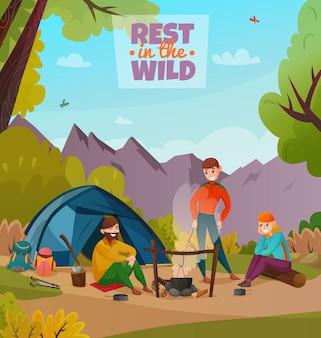 Riposo halt camping composizione