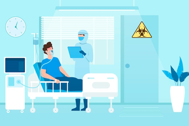 Riposo paziente infetto covid-19 nella stanza a pressione negativa in un ospedale