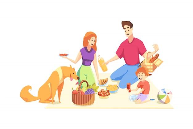 Riposo, picnic, famiglia, paternità, maternità, concetto di infanzia