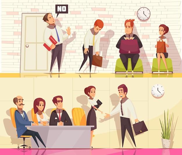 Riprendi a reclutare la collezione di banner orizzontali con personaggi umani piatti durante il colloquio di lavoro con elementi interni da interno