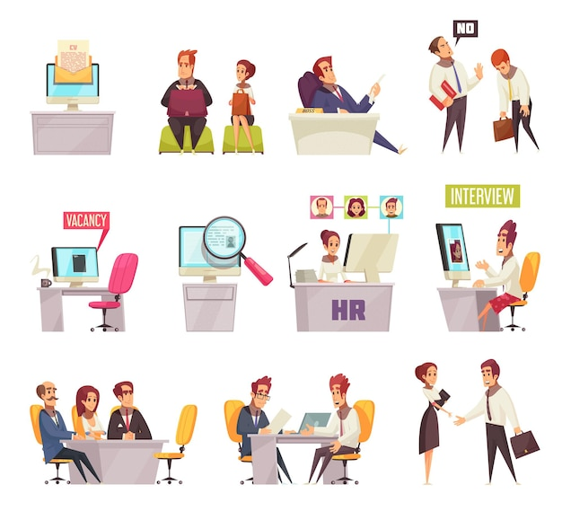 Riprendi il reclutamento di set di icone e composizioni di immagini con impiegati del fumetto e posti di lavoro