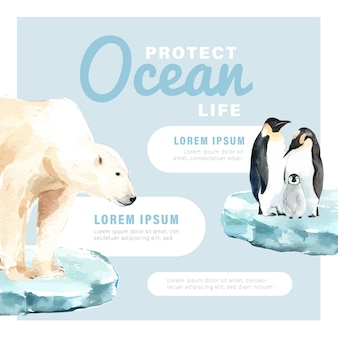 Riscaldamento globale e inquinamento. campagna pubblicitaria brochure flyer poster, salva il modello del mondo