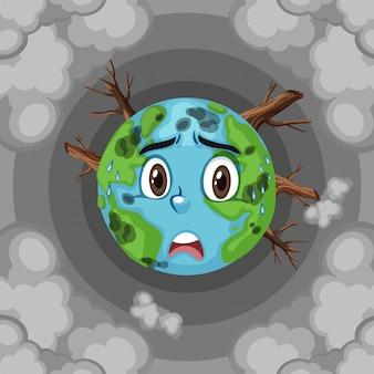 Riscaldamento globale sulla terra con deforestazione e fumo