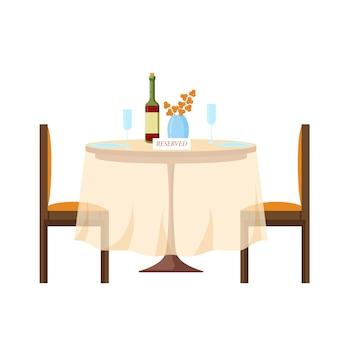 Riservato, firma su un tavolo in un ristorante in stile cartone animato