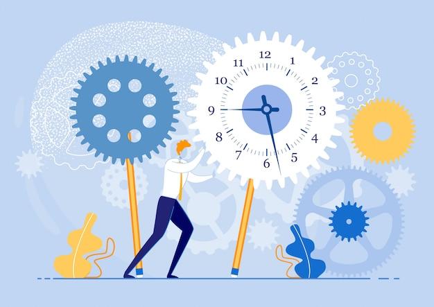 Risoluzione di casi che devono procedere immediatamente. apprendimento e comprensione delle abitudini attuali di gestione del tempo. guy in suit è spinning gears con tutta la sua forza. illustrazione.