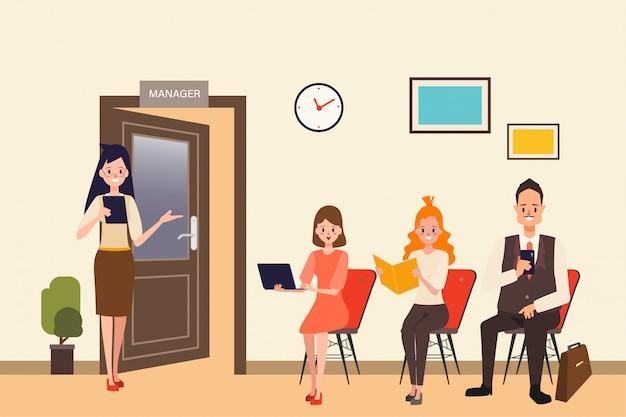 Risorsa umana di business colloquio di lavoro per dipendente.