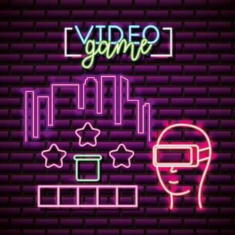 Risorse grafiche per videogiochi brick wall, neon style