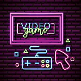 Risorse grafiche per videogiochi, controllo, freccia, muro di mattoni, stile neon