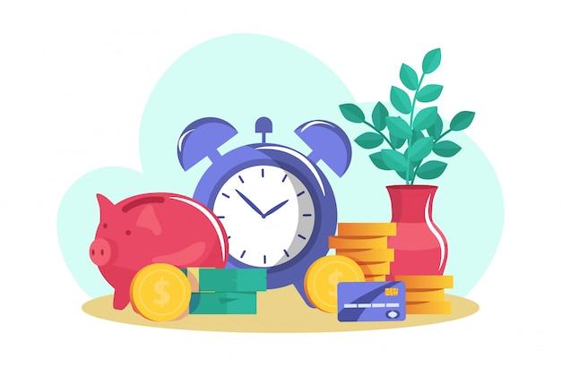 Risparmia denaro, pila di monete d'oro, salvadanaio, carta di credito e debito, isolato su bianco, illustrazione vettoriale piatta. progettare denaro contante in dollari.
