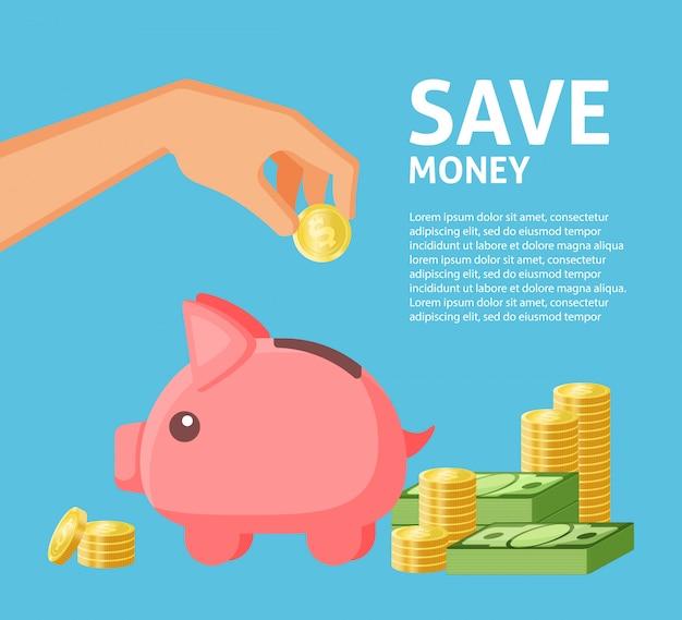 Risparmia l'illustrazione sociale del modello dell'insegna di media dei soldi
