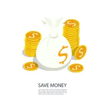 Risparmiare denaro borsa moneta d'oro
