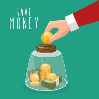 Risparmiare denaro mettere mano mettere moneta vetro messo