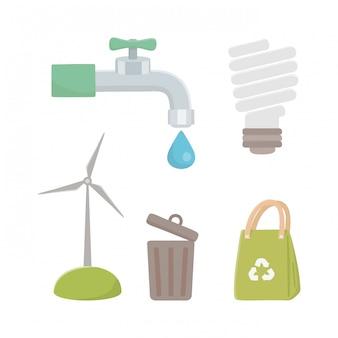 Risparmiare energia ed ecologia elementi scenografia