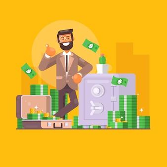 Risparmiare soldi. affari, finanza e concetto di investimento. carattere dell'uomo d'affari che sta vicino alla cassaforte piena di soldi.