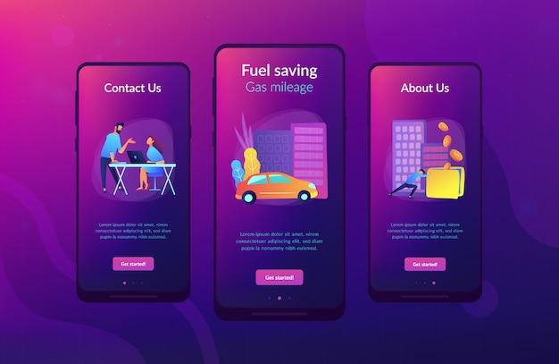 Risparmio di carburante e chilometraggio del gas ui ux modello di interfaccia app.