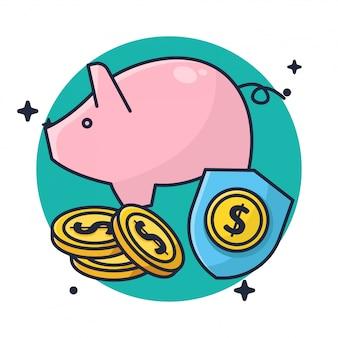 Risparmio di denaro e monete in piggy