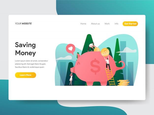 Risparmio di denaro e piggy bank per pagina web