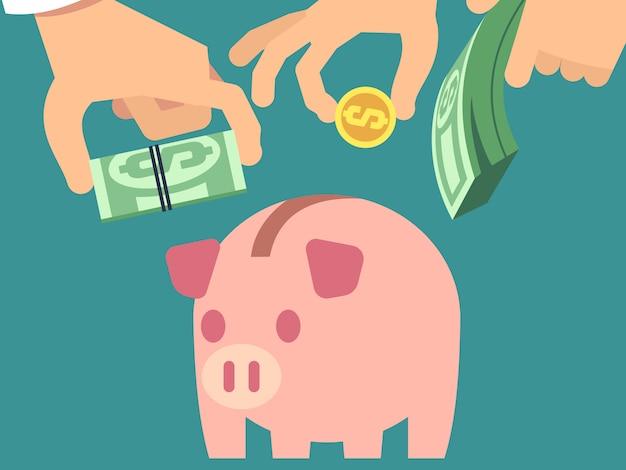 Risparmio di denaro in stile piatto salvadanaio