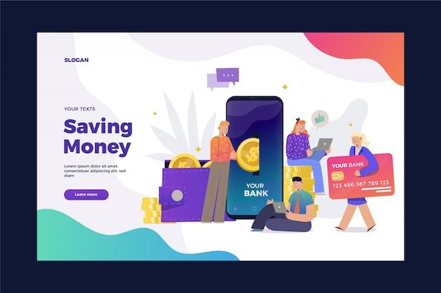 Risparmio di denaro sulla pagina di destinazione