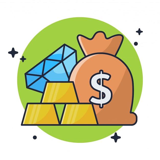 Risparmio di oro, denaro e diamanti