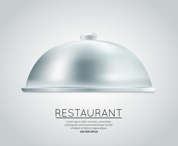 Ristorante, cloche, cibo, vassoio, servizio, piatto, pasto, ristorante, menu, progettazione, modello, disposizione, vettore, illustrazione